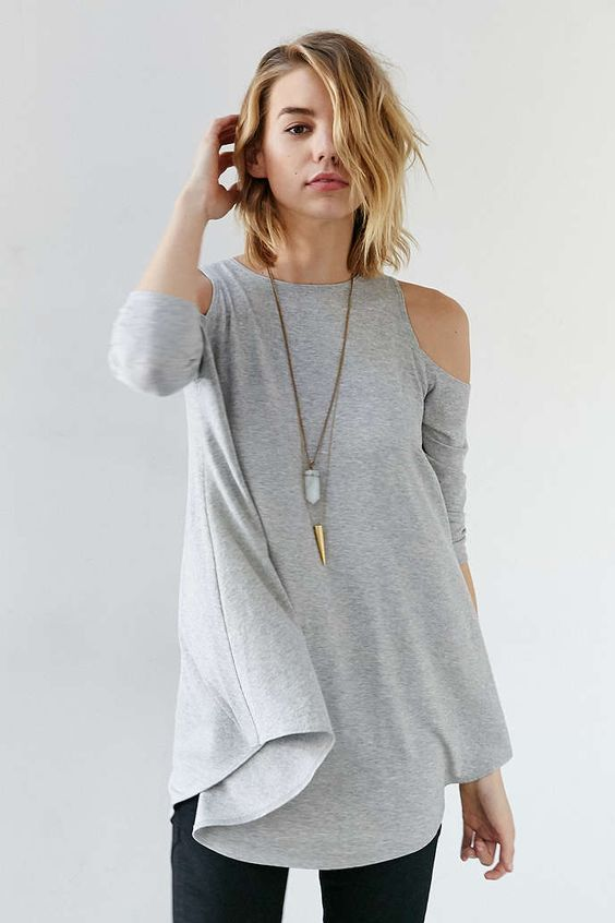 """I like the concept of """"cold shoulder"""" tees, and I like that this one doesn't show too much and is also flowy"""