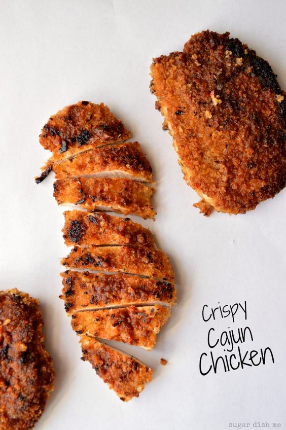 Crispy Cajun Chicken - coated with homemade cajun seasoning and Panko breadcrumbs, pan-seared for extra crunch. Awesome on biscuits, great on salads!