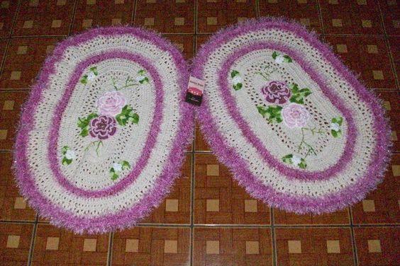 Sandra Roque Artesanatos: Tapete oval com flores e fio Bilbao