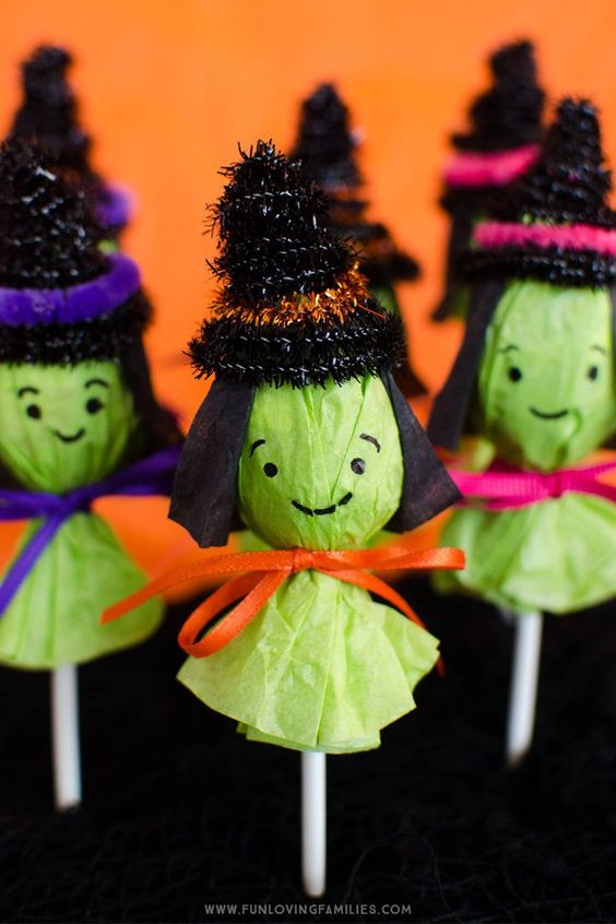 Adorable Lollipop Witches | Halloween Kids Crafts