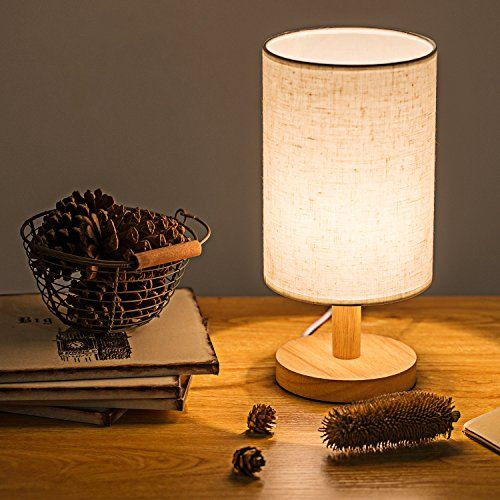 Ouli Nightstand Table Lamp Cylinder Desk Lamps With Flaxe Lamp Table Lamp Fabric Shades