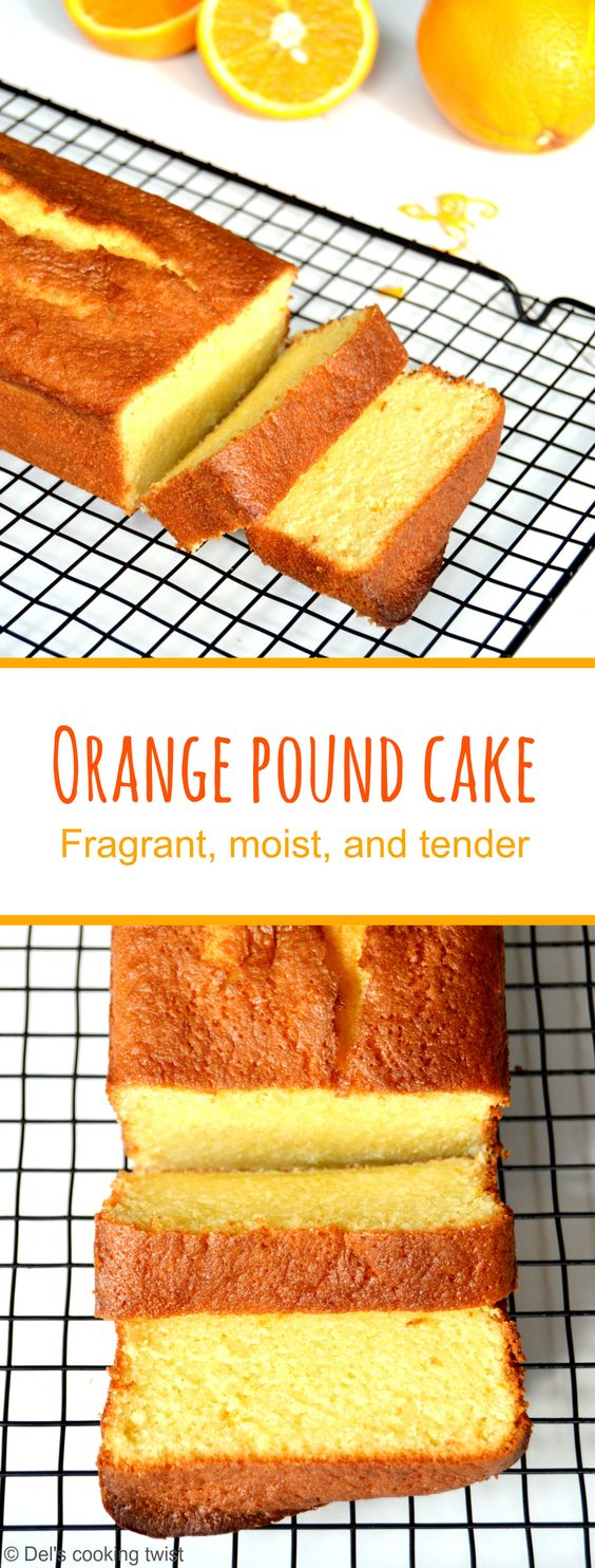 Fragrant, moist, and tender Orange Pound Cake flavored with freshly squeezed orange juice and orange zest.   Del's cooking twist