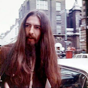 GEORGE HARRISON --- Every hippy of the early to late 1970s wanted this length of hair.  It was so sexy on men back then. If you're raised on that aesthetic -- the crew-cut boy bands were hard to understand.
