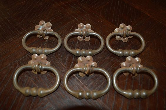 Antique French Drawer Pulls Set of 6 Cast Iron Ring Handles Hardware