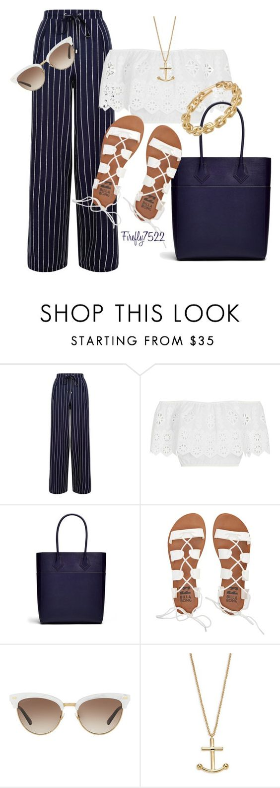 """""""Nautical Navy & White"""" by firefly7522 ❤ liked on Polyvore featuring New Look, Miguelina, Rebecca Minkoff, Billabong, Gucci, Kate Spade and Calvin Klein"""