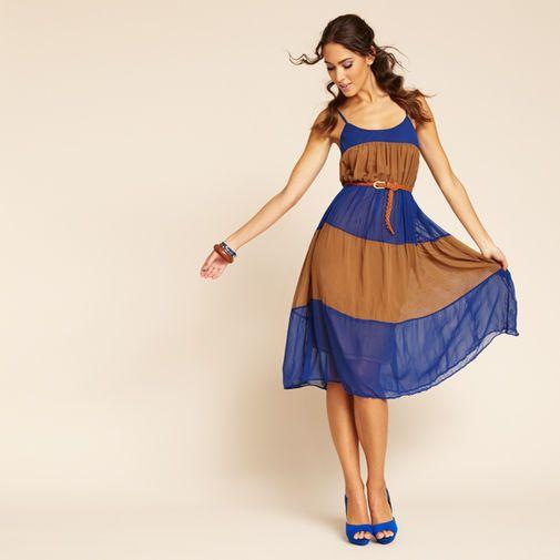 BLU PEPPER  Colorblock Tiered Maxi Dress