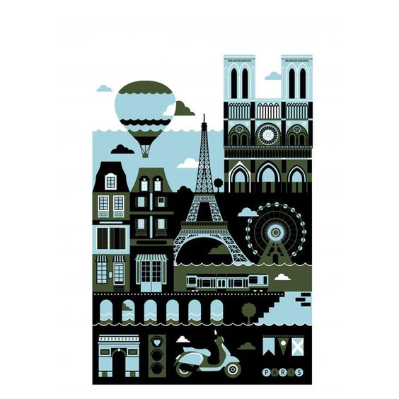 Monde Mosaic - Paris Art Print (¥9,805) ❤ liked on Polyvore featuring home, home decor, wall art, paris home decor, unframed wall art, parisian home decor, paper wall art and new york skyline wall art