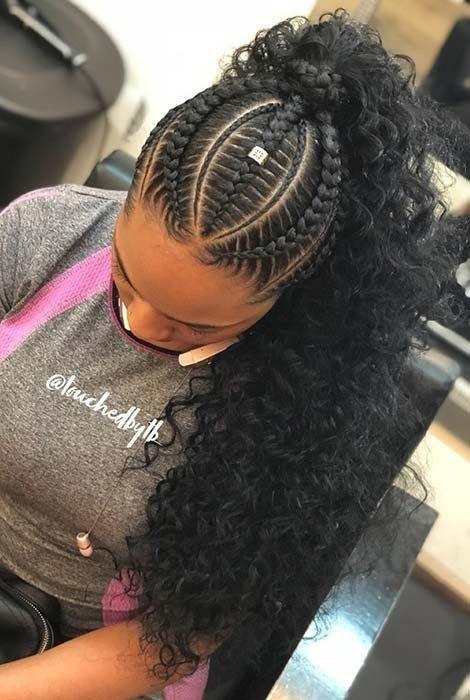 cabelo cacheado com tranças tops