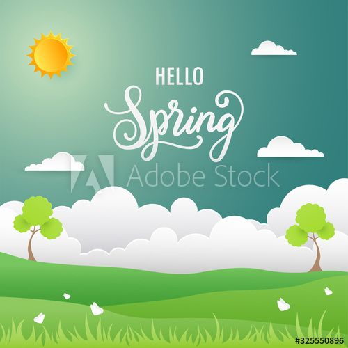 Spring Background Nature Landscape In Flat Design Affiliate Nature Background Spring Design Flat Ad In 2020 Design Art Graphic Design Design