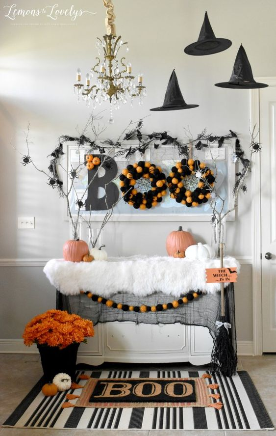 Halloween decorations are the perfect way to get your family excited about the month of October!  Pick an area of your home and dress it up with some cute bats, pumpkins, mums, and witch hats for Halloween! #outdoor #party #DIY #indoor #tomake #scary #forkids