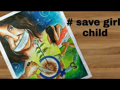 How To Draw Save Girl Child Painting Step By Step For Drawing