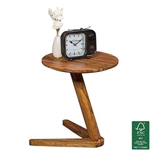 WOHNLING Beistelltisch Massiv-Holz Sheesham Design Wohnzimmer ...