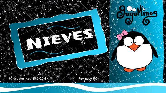 """Hola Nieves... Tu Nombre al estilo Guyuminos! Sabías que Nieves significa """"Nieve"""" y deriva del título de la VirgenMaría,Nuestra Señora de las Nieves. Variantes: Nieve, Neus (Catalán), Nives (Italiano), Neves (Portugués) :D *Nieves: Means """"snows"""" in Spanish, derived from the title of the VirginMary """"Our Lady of the Snows"""".  Comparte los nombres de tus familiares y amigos que encuentres! #nieves #guyuminos #nombre #significado #cute"""