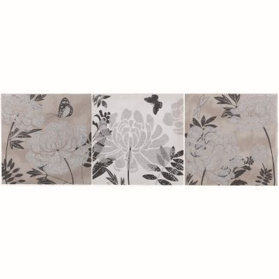 Yosemite Home Decor presents a trio floral portrait. This portrait features shades of grey black and white that beautifully accentuates those glittery silver flowers that are the focal points of each portrait. With dainty butterflies dancing in the background this trio would look great in any home or office adding that magical touch that only Yosemite Home Decor has to offer.