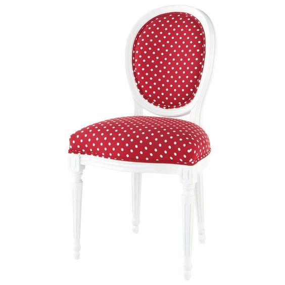 Stuhl rot mit weißen Pünktchen Louis