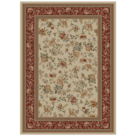 Shop Concord Global Florence 47-in x 65-in Rectangular Cream/Beige/Almond Floral Area Rug at Lowes.com