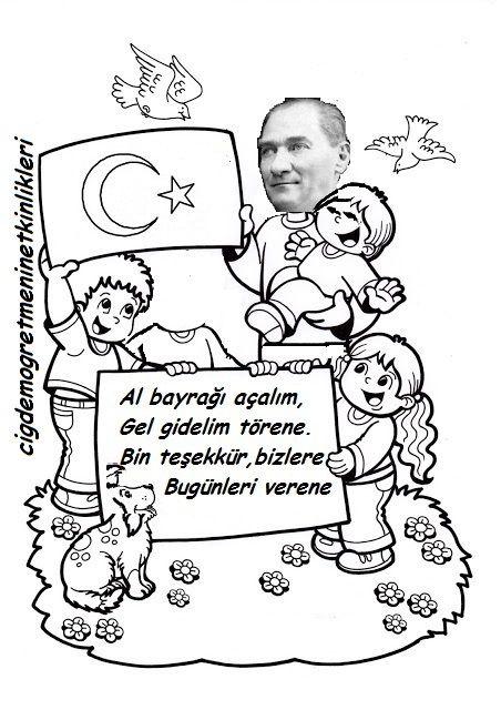 Ataturk Ve Cocuk Okul Oncesi Okul Boyama Sayfalari