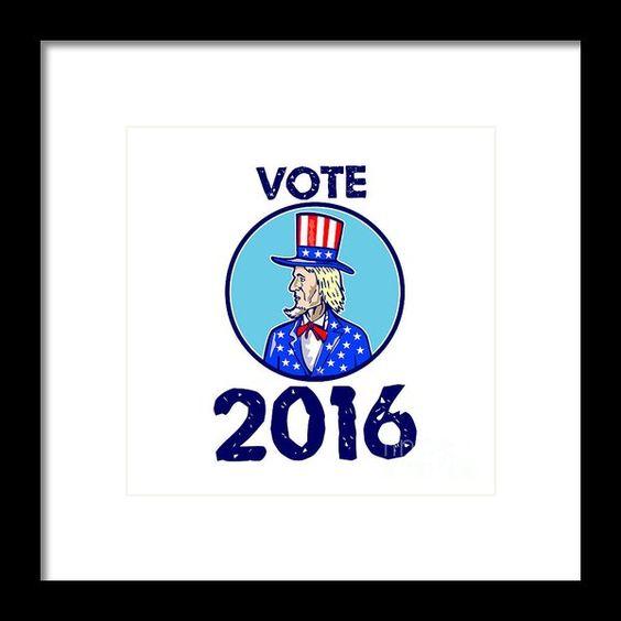 Vote 2016 Uncle Sam Tophat American Flag Circle Retro Framed Print By Aloysius Patrimonio