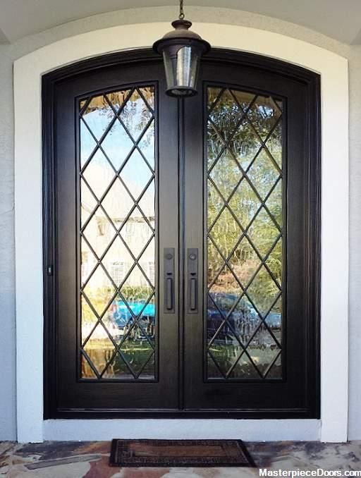 Modern French Dark Double Arched Front Entry Door In 2020 French Doors Exterior Front Entry Doors Double Entry Doors