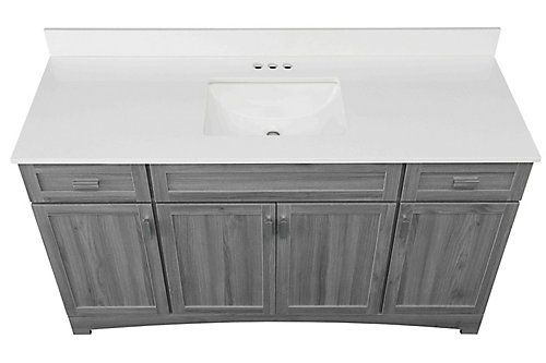 Glacier Bay Rocara 60 Inch W Vanity Combo With White Engineered