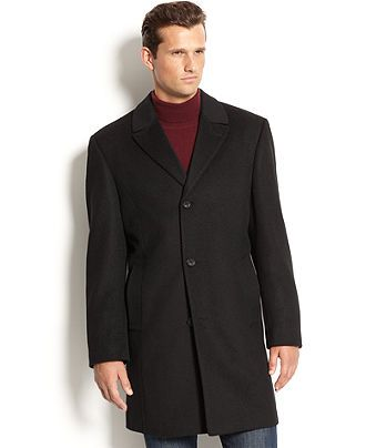 Tommy Hilfiger Big and Tall Coat Melton Wool-Blend Peacoat