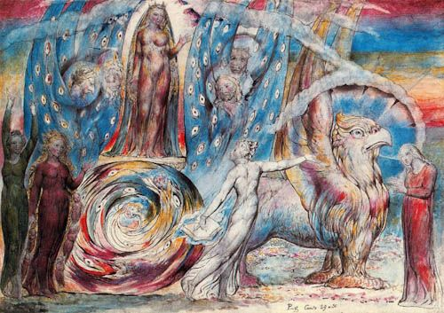 Beatriz se dirige a Dante desde el carro by William Blake
