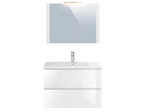 Marque Amazon Movian Argenton Meuble De Salle De Bain Avec Miroir Et Lavabo 81x465x57cm Blanc En 2020 Deco Salle De Bain Salle De Bain Et Lavabo
