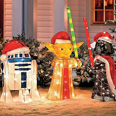 Fantastic idea for Christmas decorations... I mean the light-sabers are red and green.  Totally Christmas.