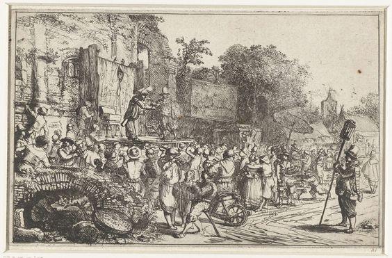 Constantijn à Renesse | Dorpskermis met twee kwakzalvers, Constantijn à Renesse, 1636 - 1654 | Op een plein bij een ruïne, een podium met twee mannen erop. Vele mensen bijeen kijkend naar het schouwspel. Rechts op de achtergrond en kerktoren van Eindhoven.