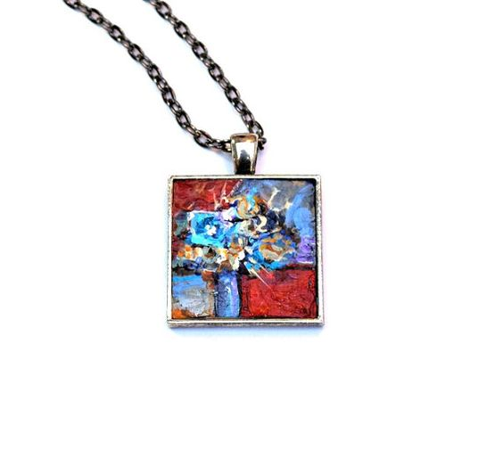 Abstract Floral Pendant  Original Painting by danamarieart on Etsy