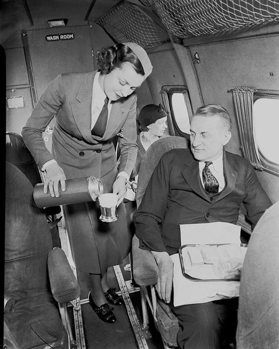 Edna serves Harold on a flight out of Chicago in 1930.