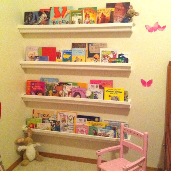 Rain gutter book shelves in Molly's room!! Love them. They were cheap, easy and look so cute! DONE!