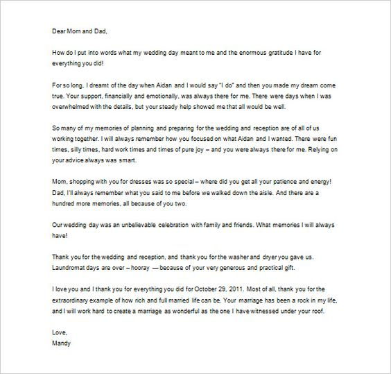 wedding thank you letter free sample example format download - thank you for your support letter