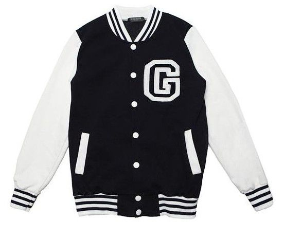 Letter C Cheap Baseball Jacket Long Sleeve White and Black [Letter
