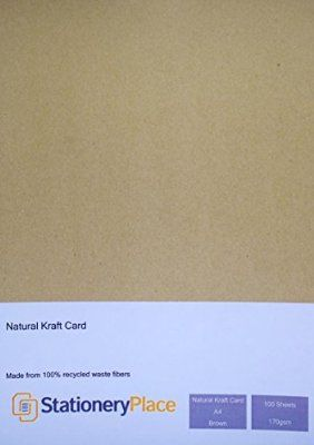 Stationery Place, Thin - Brown Natural Kraft Card A4 170 GSM 100 Sheet Pack