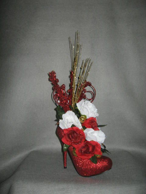 Christmas wedding red sparkle high heel shoe roses bridal