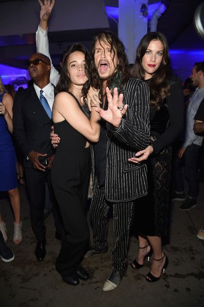 Chelsea Tallarico, Steven Tyler, and Liv Tyler attend the Givenchy SS16 after party on September 11, 2015 in New York City.