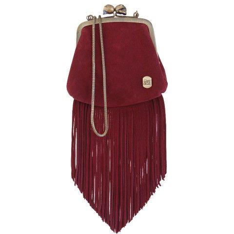Berthe à franges Bordeaux #mamanetrose #cuir #leather #bag #handbag #bourse #fringes #frange #bordeaux #skull #berthe #createur www.mamanetrose.com