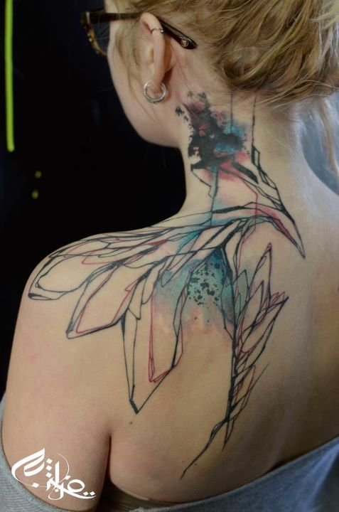 By Niko of Street Tattoo in France: Awesome Tattoo, Art Tattoo, Abstract Watercolor Tattoos, Neck Tattoo, Ink Tattoo, Abstract Tattoo, Watercolour Tattoo