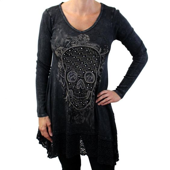 Vocal Black Long Sleeve Tunic Top with Skull & Roses and Embellished Rhinestones #Vocal #RibbedVNeck #Casual
