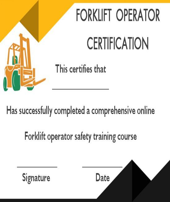 15 Forklift Certification Card Template For Training Providers Template Sumo Forklift Card Template Certificate