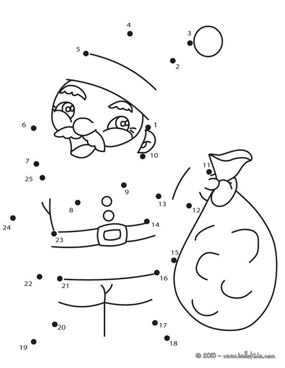 www.hellokids.com : Print page Xmas Santa Claus dot to dot game ...