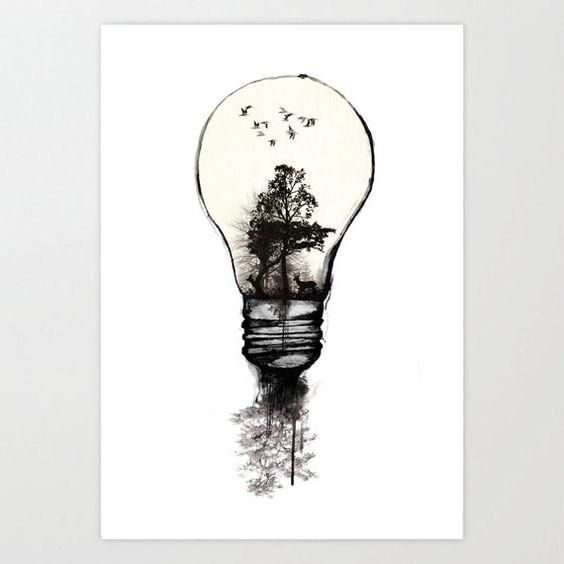 Dessin idée forêt surréalisme ampoule