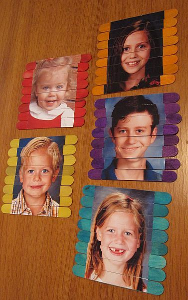 popsicle stick photo puzzles - the photos are all the same size so you can mix them and match them into kooky pics also - hilarious for kids...: