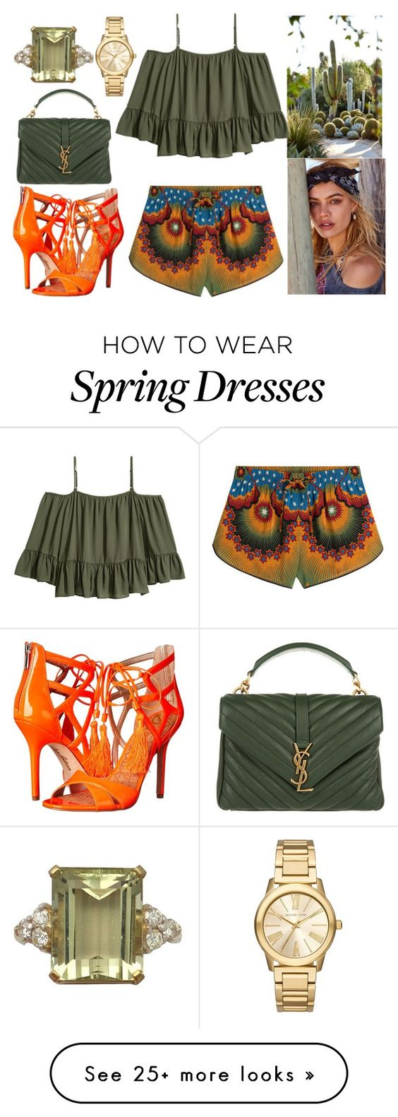 """""""Green view"""" by sweetika on Polyvore featuring Valentino, Sam Edelman, Yves Saint Laurent and Michael Kors"""