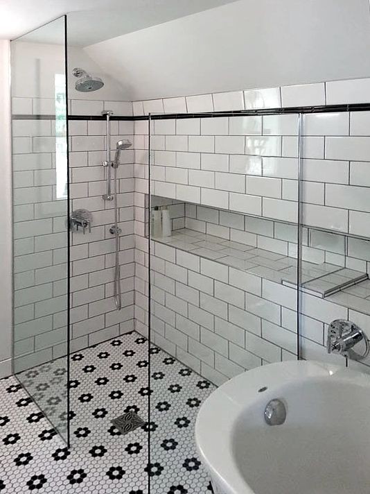 Timeless Black White Bathroom Design Tile Bathroom Black And White Tiles Bathroom Bathroom Tile Designs