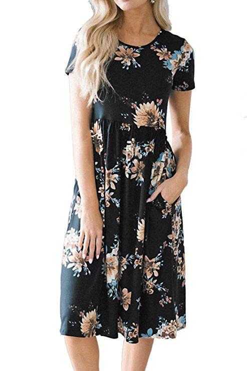 Dress vintage long black beige midi floral summer short sleeves romantic gift for her Size M