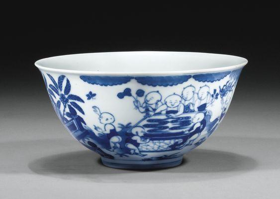 Bol en porcelaine bleu blanc Chine, dynastie Qing, marque et époque Daoguang…