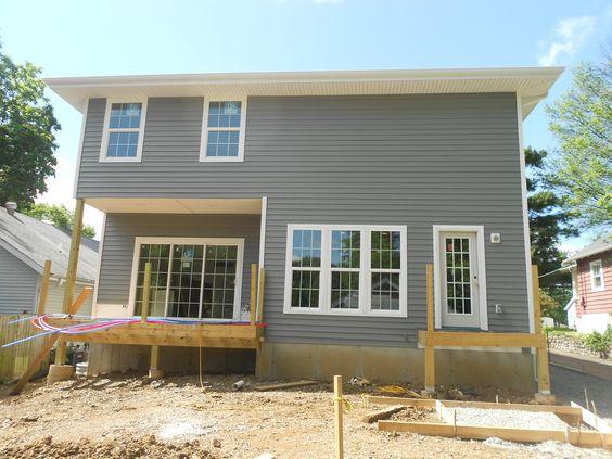 Back Of The House With Mastic Deep Granite Vinyl Lap Siding Exterior Siding Options Siding Options Exterior Siding