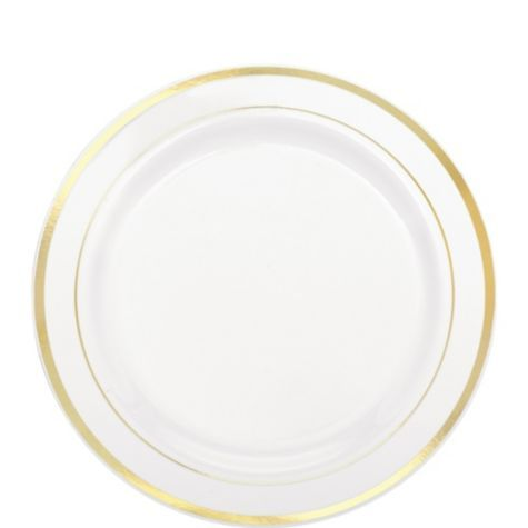 white gold trimmed premium plastic dessert plates 20ct